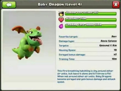 Baby Dragon Stats Clash of Clans