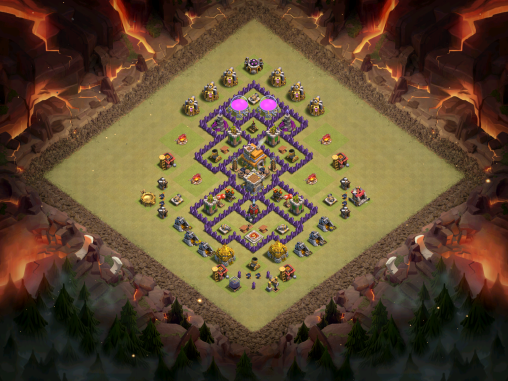 Town Hall 7 Anti Mass Drags War Base Full Base