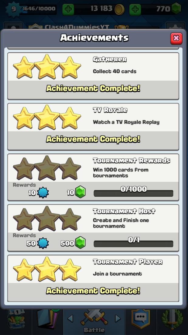 Tournament Achievements Clash Royale