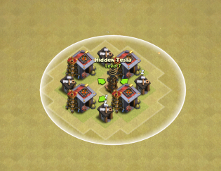 Clash of Clans Hidden Tesla Range