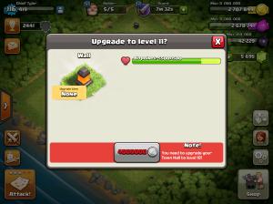 Clash of Clans Upgrade Order Walls