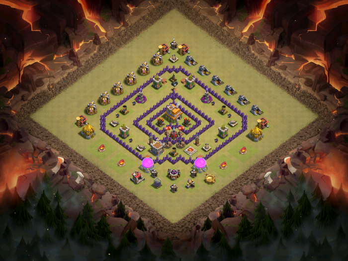 Clash of Clans Best TH7 Anti-Drag Base October 2016