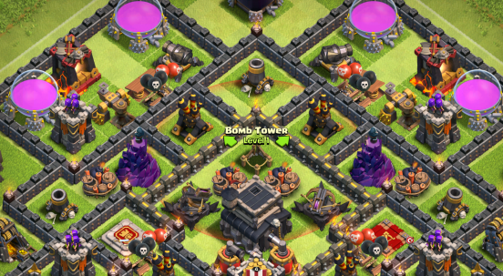 Clash of Clans Bomb Tower Base Design Pushing
