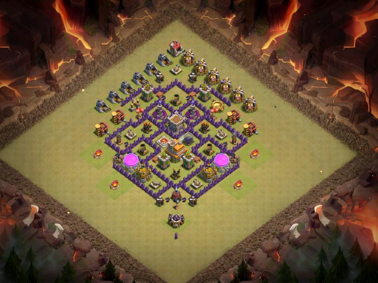 Clash of Clans Best TH7 Anti-Dragon War Base November 2016