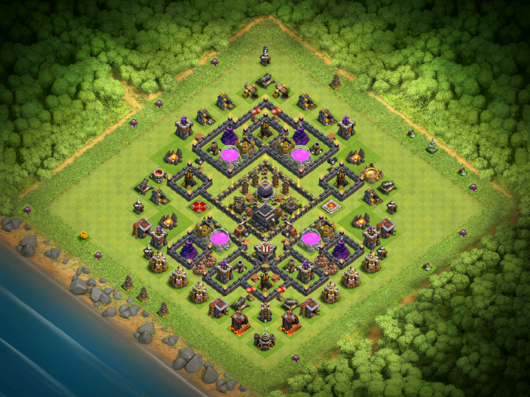 Clash of Clans Best TH9 DE Farming Base November 2016