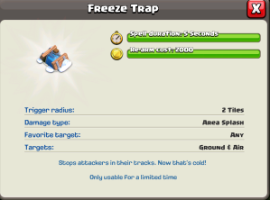 Clash of Clans Freeze Spell Levels Statistics
