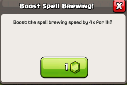 Clash of Clans One Gem Spell Boost