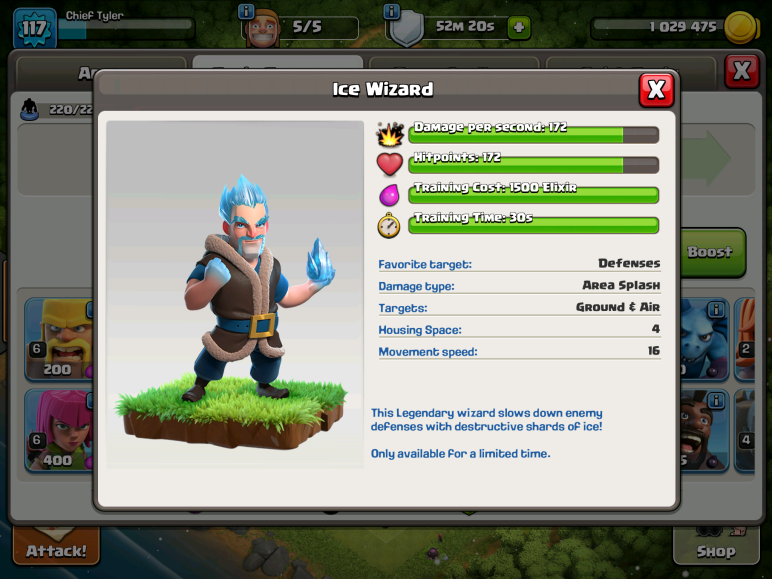 Clash of Clans Ice Wizard Permanent Troop