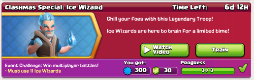 Clash of Clans Ice Wizard Challenge Special Event