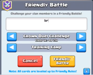 Clash Royale Crown Duel Challenge Friendly Battle