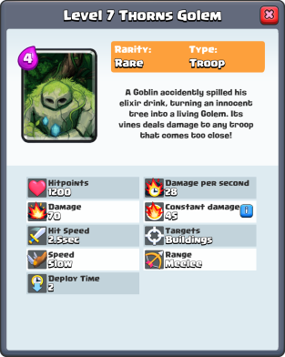 Clash Royale New Card Thorns Golem