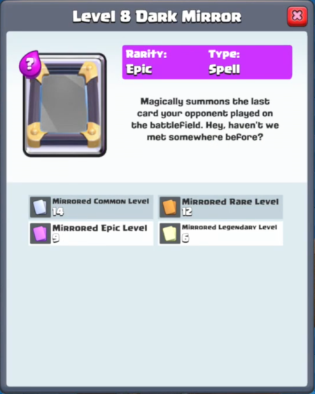 Clash Royale New Card Dark Mirror