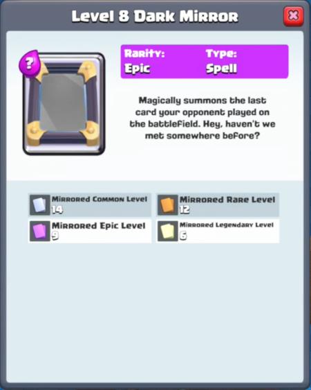 Clash Royale New Card Dark Mirror