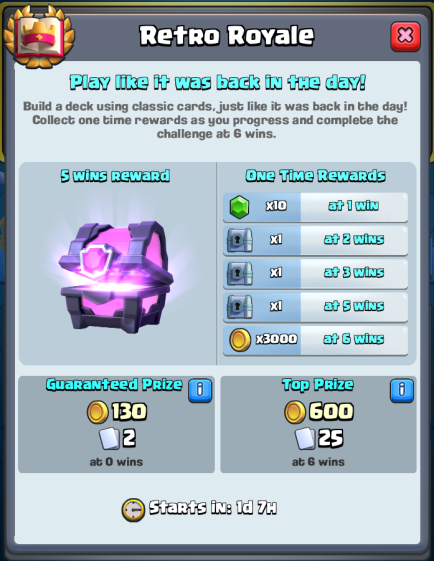 Clash Royale Retro Royale Challenge Rewards