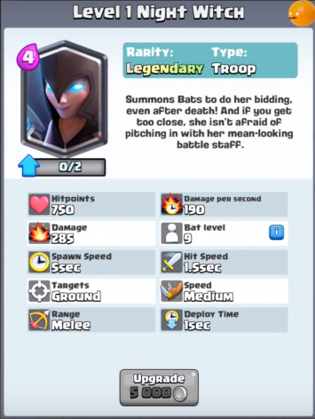 Night Witch New Clash Royale Card