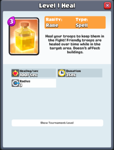 Clash Royale Heal Spell Stats