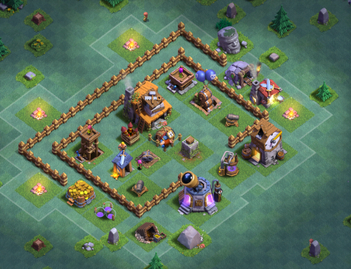 Clash of Clans Builder's Base Builders Hall 4 Base Design Layout