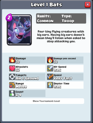 Bats Gameplay Stats Clash Royale