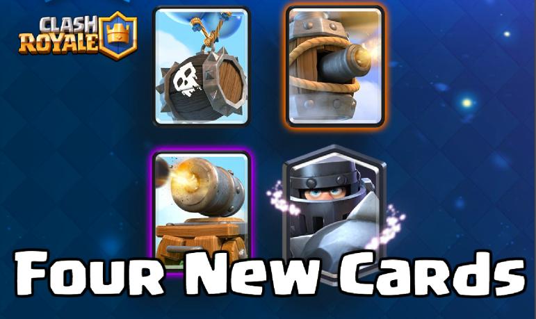 Clash Royale New Cards Skeleton Barrel Flying Machine Cannon Cart Mega Knight