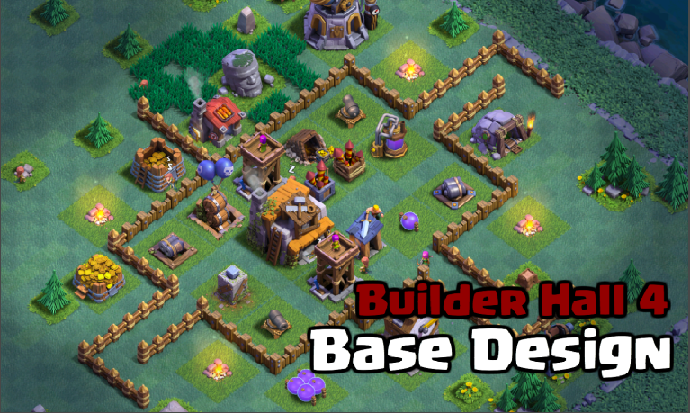 Builder hall 4 bh4 base designs for clash of clans Best builder house 4 base