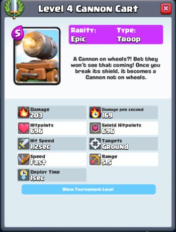 Cannon Cart Tournament Level Stats Clash Royale