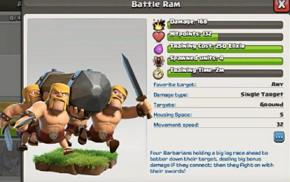 Battle Ram Clash of Clans August 2017 Update