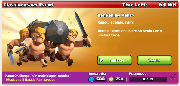 Clash of Clans Battle Ram Event
