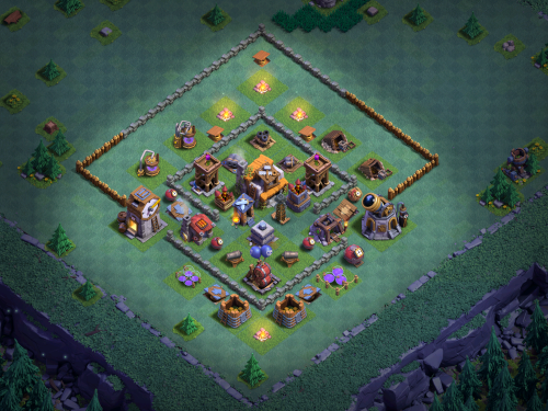 Builder Hall 5 Anti-Two Star Base Layout Clash of Clans