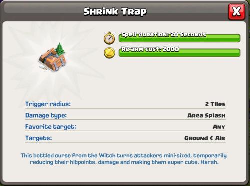 Shrink Trap Statistics Clash of Clans