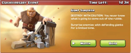 Giant Surprise Event Clash of Clans August 2017 Update