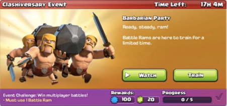 Barbarian Party Event Clash of Clans August 2017 Update