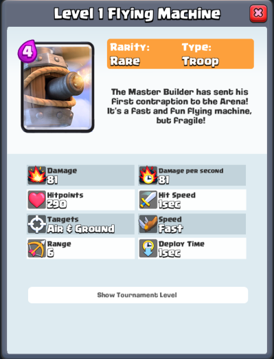 Flying Machine Stats Level 1 Clash Royale