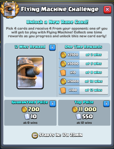 Flying Machine Challenge Rewards Clash Royale