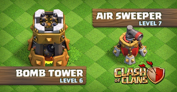Bomb Tower Level 6 Air Sweeper Level 7 Clash of Clans October Update