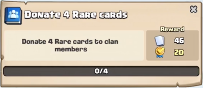 Donate 4 Rare Cards Quest Clash Royale