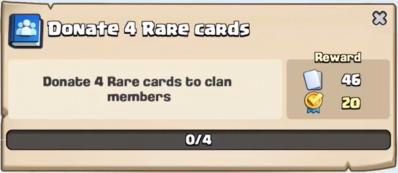 Donate 4 Rare Cards Quest Clash Royale