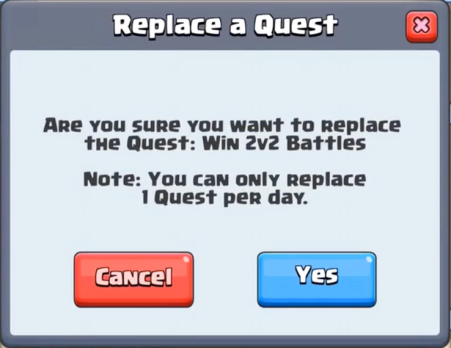 Replace a Quest Clash Royale October Update