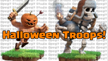 Giant Skeleton Pumpkin Barbarians Halloween Clash of Clans