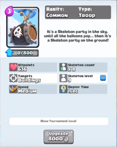 Clash Royale Skeleton Barrel Statistics