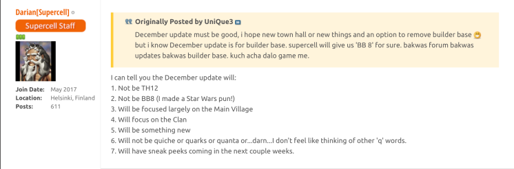 Clash of Clans December 2017 Update