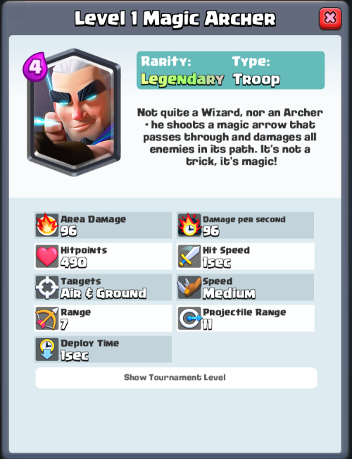 Magic Archer Statistics Clash Royale