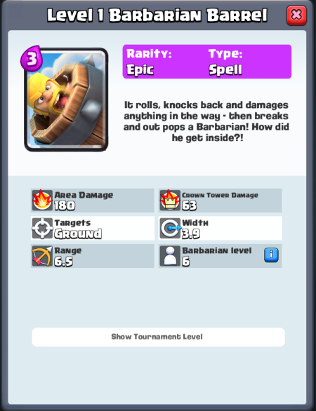 Barbarian Barrel Statistics Clash Royale