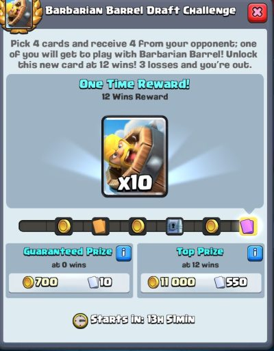 Barbarian Barrel Draft Challenge Rewards Clash Royale