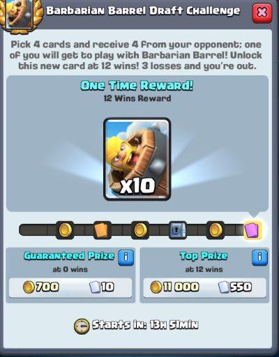 Barbarian Barrel Draft Challenge Rewards Clash Royale