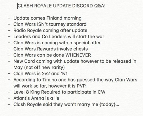 Clan Wars Information Clash Royale