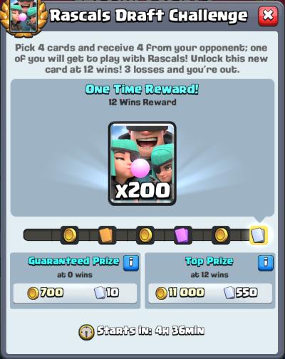 Rascals Draft Challenge Rewards Clash Royale