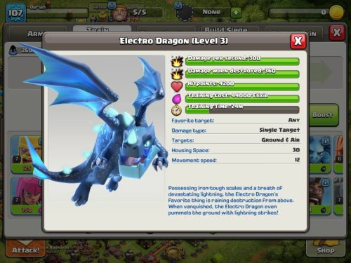 Electro Dragon Statistics Clash of Clans