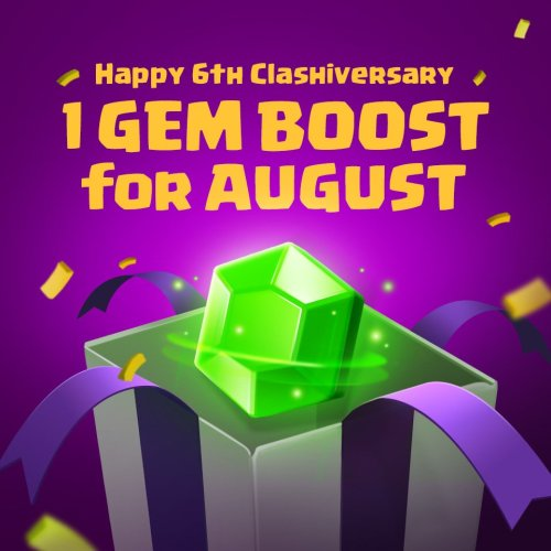 1 Gem Boost 6th Anniversary Clash of Clans