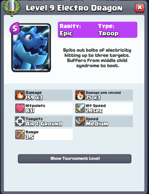Electro Dragon Statistics Clash Royale