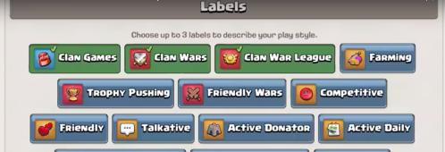 Clash of Clans Clan Labels Update